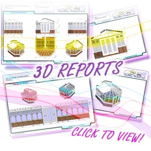 Image shows a collection of 3D reports available within ComfortableConservatories.