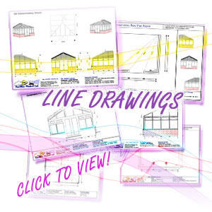 Image shows a collection of CAD line drawing reports available within ComfortableConservatories.