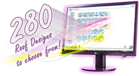 Step 2. Shows a monitor displaying a few of over 280 designs to choose for the customer in ComfortableConservatories.