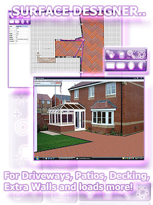Driveways sample using the ComfortableConservatories built in surface designer for patios, paving, decking, walls & more.